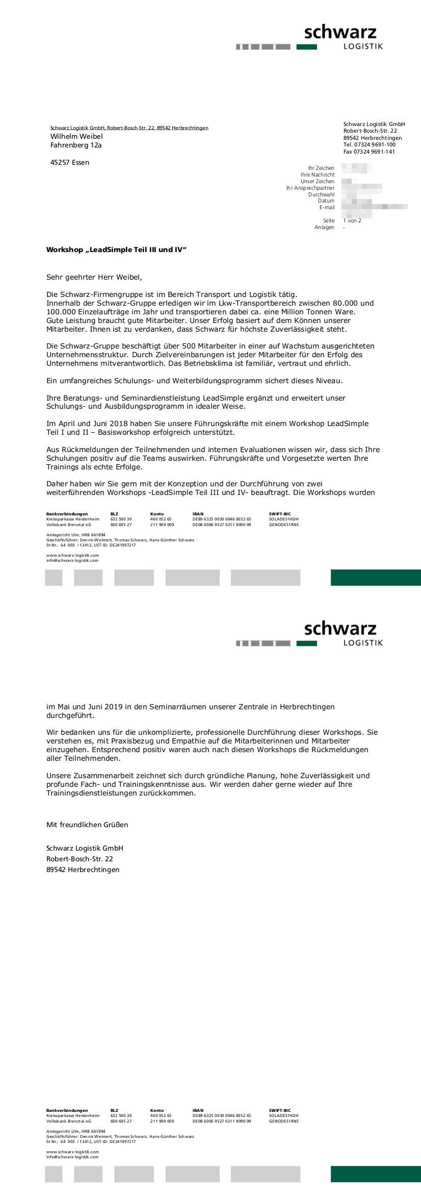 Kundenreferenz Schwarz Logistik Teil 2